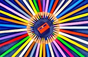 Pencils Paintings - Colorful pencils by George Atsametakis