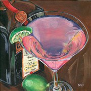 Lime Prints - Cosmo Martini Print by Debbie DeWitt