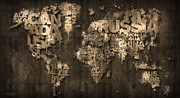 World Map Canvas Digital Art Metal Prints - Dark Storm Metal Print by Mikael B Design