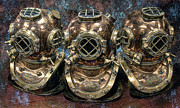 Diving Helmet Art - 3 Deep-diving Helmets by Daniel Hagerman