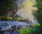 Mary Snyder - Deer in the Stream