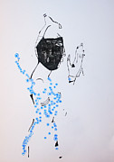 Jesus Drawings Prints - Dinka Silhouette - South Sudan Print by Gloria Ssali