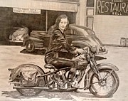 Harley Davidson Drawings - Dinner Bell Waitress by Charles Rogers