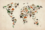 Pterodactyls Posters - Dinosaur Map of the World Map Poster by Michael Tompsett