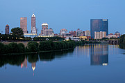 Indiana Scenes Photos - Downtown Indianpolis Indiana Skyline by Bill Cobb