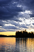 Cloudy Photo Prints - Dramatic sunset at lake Print by Elena Elisseeva