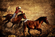 Cowboy Digital Art Prints - Dust And Determination Print by Robert Albrecht