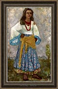Portraits Mixed Media Framed Prints - Dzhalma Framed Print by Pemaro