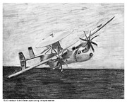 Hawkeye Drawings - E-2C Hawkeye by Sarah Howland-Ludwig