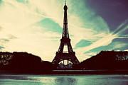 Eiffel Tower In Paris Fance In Retro Style Print by Michal Bednarek