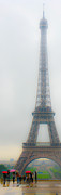 Doug Fisher Prints - Eiffel Tower with Umbrellas Print by Douglas J Fisher