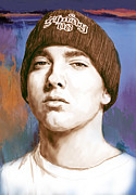 Record Producer Framed Prints - Eminem - stylised drawing art poster Framed Print by Kim Wang