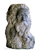 Religious Sculpture Prints - 3 Faces of Moses Print by Herb Conrad