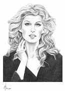Portrait Drawings - Faith Hill by Murphy Elliott