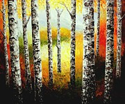 Birch Tree Paintings - Fall Birches Beauty palette knife painting by Georgeta Blanaru