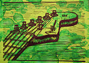 Linocut Posters - Fender Strat Poster by William Cauthern