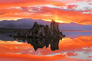 Mono Lake Framed Prints - Fiery Mono Lake Sunset Framed Print by Adam Jewell