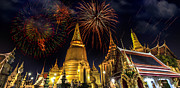 Pyrotechnics Framed Prints - Firework on Wat Phra Kaeo  Framed Print by Anek Suwannaphoom