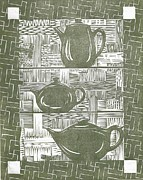 Linoleum Print Drawings - 3 for Tea by Jennifer Harper