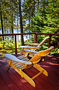 Lake View Prints - Forest cottage deck and chairs Print by Elena Elisseeva