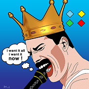 80s Prints - Freddie Mercury Print by Mark Ashkenazi