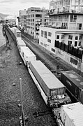 Goods Prints - freight train goods tracks near main street and port metro docks Vancouver BC Canada Print by Joe Fox