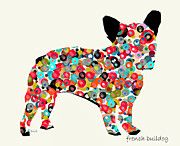Chihuahua Colorful Art Prints - French Bulldog  Print by Brian Buckley