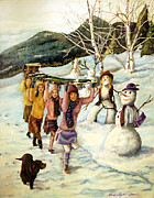 Country Paintings - Frosty Frolic by Linda Simon