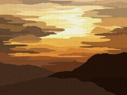 Tranquil Mountaintop Art - Funky Sky by Val Arie