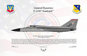 Usaf Framed Prints - General Dynamics F-111F Aardvark Framed Print by Arthur Eggers