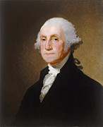 White Shirt Paintings - George Washington by Gilbert Stuart