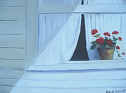 Glenda Barrett - Geraniums on Windowsill