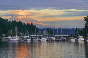 Puget Sound Photographs Prints - Gig Harbor Marina and Boatyard Print by Yefim Bam