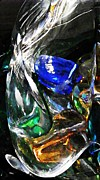 Colored Glass Posters - Glass Abstract 126 Poster by Sarah Loft