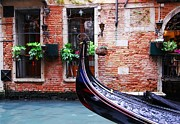 Brick Walls Prints - Gondola In Venice Print by Mel Steinhauer