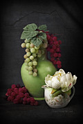 Pottery Pitcher Digital Art Prints - Grapes In Vase Print by Vicki McLead