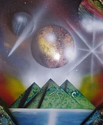 Spray Paintings - 3 Green Pyramids by Gianluca Cremonesi