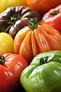 Colourful Acrylic Prints - Heirloom tomatoes Acrylic Print by Elena Elisseeva