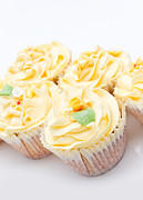 Frosting Posters - Homemade Creamy Luxury Cup Cakes With Detailed Flower And Sparkl Poster by Fizzy Image