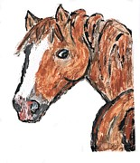 Horse Images Digital Art Prints - Horse Face Print by John Vito Figorito