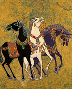 Contemporary Animal  Acrylic Paintings - 3 Horses by Laila Shawa