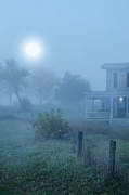 Moonlit Night Photos - House in Fog by Jill Battaglia