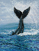 Whales Art - Humpback Flukes by Debbie Chamberlin