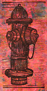 Linocut Posters - Hydrant Poster by William Cauthern