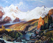 Mountain Scene Drawings Prints - Idaho Wilderness Print by John Hudson Hawke