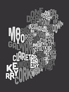 Ireland Eire County Text Map Print by Michael Tompsett