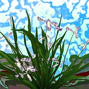 Abstract Flowers Digital Art - Iris by GuoJun Pan