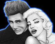 Portraits Digital Art - James Dean and Marilyn Monroe by Charles Champin