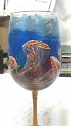 Painted Glass Art - Jellyfish On Glass by Dan Olszewski