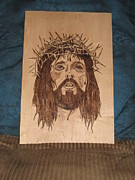 Jesus Pyrography Metal Prints - Jesus Crucifixion Metal Print by N Gardner
